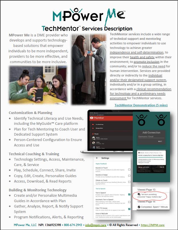 MyGuide TechMentor Partner Guide Screenshot