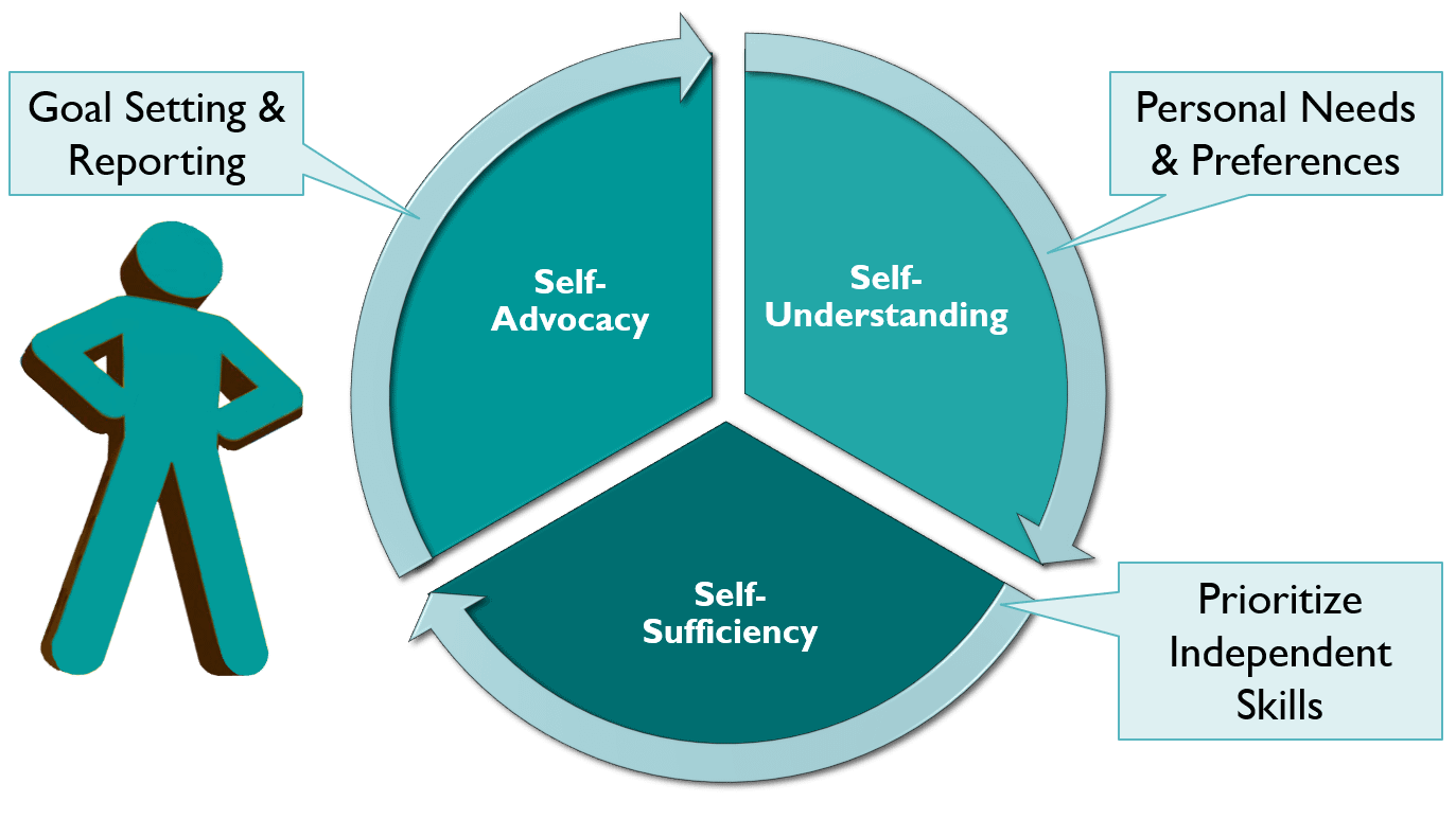TechMentor coaching cycle shows 3 sections. Personal needs and preferences represent self-understanding which points to prioritize independent skills that represent self-sufficiency, which points to goal setting and reporting that represents self-advocacy.